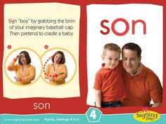 """Learn how to sign """"son"""" using American Sign Language. This site would be good for kids to learn from. Sign Language Book, Sign Language For Kids, Learn Sign Language, American Sign Language, Baby Signing Time, Libra, Learn To Sign, Asl Signs, Deaf Culture"""