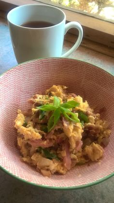 Paleo scrambled eggs with locally sourced bacon and eggs. Simple and delicious