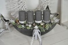 Hello everybody! We offer you a nice Advent arrangement in a box. Hello Everybody, Grey Candles, Candle Burner, Christmas Decorations, Table Decorations, Handmade Christmas Gifts, Handmade Flowers, Wedding Centerpieces, Paper Flowers