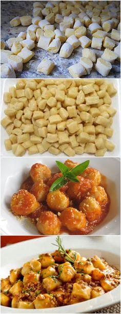 UMA RECEITA MUITO ESPECIAL DE NHOQUE!! VEJA AQUI>>>Cozinhar as batatas no forno com casca, até que fiquem moles o suficiente para amassar (como para fazer um purê) #MASSAS#NHOQUE#