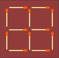 Another matchstick puzzle. Can you move only two of the matches to make six squares?  (SOLUTION COMING SOON)