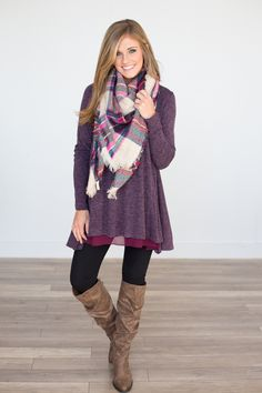 Dear Stylist I like this top....not a scarf person though.  Long Sleeve Layered Flare Tunic - Plum - Magnolia Boutique