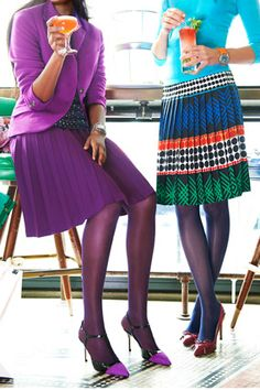 knee-length pleated skirts with blazers, knits, delicate shoes (stilettos, pumps with bows, slingbacks, t-straps)