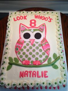 Strawberry Cake With Buttercream Icing Owl Letters Limb And Leaves Made Of Fondant
