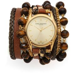 Sara Designs Leather & Beaded Wrap Watch found on Polyvore