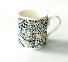 Black and white mug zentangle doodle bone china by KilnFiredArt, £12.00
