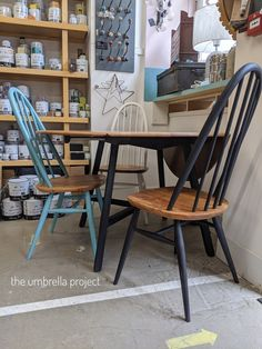 Ercol Table, Ercol Dining Chairs, Ercol Chair, Ercol Furniture, Painted Dining Chairs, Dinning Table, Table And Chairs, Dining Room Design, Dining Rooms