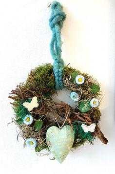 Türkränze -  Türkranz ♥ Frühling ♥  türkis ♥ Herz - ein Designerstück von blumen-atelier bei DaWanda
