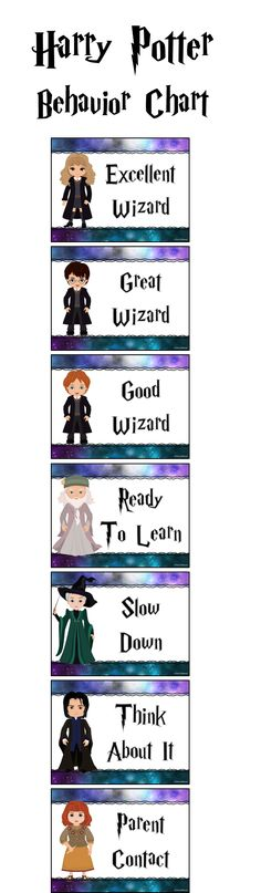 Harry Potter themed behavior chart for a Harry Potter Classroom
