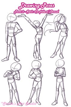 Figure Drawing Poses Confident / Proud Poses: Here's a reference page to draw confident or proud standing poses. For more of en explanation and a walk-through, watch the video linked to the pin! (Drawn by Starla's Art Studio YT) Drawing Techniques, Drawing Tips, Drawing Sketches, Drawing Tutorials, Cartoon Sketches, Drawing Ideas, Drawing Cartoons, Drawing Quotes, Drawing Stuff