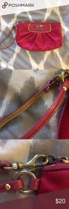 Authentic Coach Wristlet Authentic Coach wristlet, well loved (pictured) but still has plenty of life left in it! Coach Bags Clutches & Wristlets
