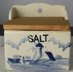 Vintage Ceramic Blue & White Lighthouse Sailboat Salt Box Wall Hanging Wood Lid