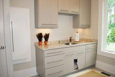 Cute cat door for in-cabinet litter box! Laundry Room Sink, Laundry Room Design, Laundry Rooms, Custom Bathroom Cabinets, Kitchen Cabinets, Hidden Litter Boxes, Cat Toilet, Laundry Room Inspiration, Sink Countertop