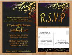 Printable Wedding Invitation Fall Colors Chalkboard (Red/Orange/Blue/Black)
