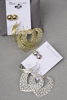 3pair Earrings Filigree Heart With Mix Design