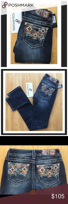 "♍️ISS ME Straight Leg Jeans Gorgeous Aztec Design on the back pockets. Inseam 33.5"". ‼️(Keep in mind for thoughts of you who don't know; Posh takes 20% off of the sale for them.) Miss Me Jeans Straight Leg"