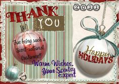 "THANK YOU to ALL my Scentsy Customers from the past 2 months! I am new to direct sales & now see the benefits of ""Shopping Small Business/Local"". My short 2 months with Scentsy will afford me to pay a water bill, buy a weeks groceries & start my Christmas shopping. I CAN'T THANK EVERYONE ENOUGH for ordering from open house parties or via my website. I will be unemployed from my 11 1/2 year job in insurance on 12/22 & headed to radiology tech school in the coming months. Scentsy has been a…"