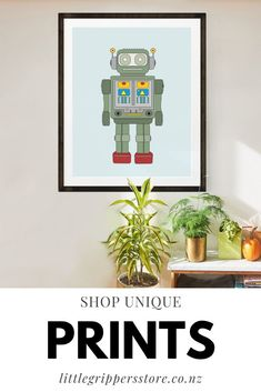 Calling all kids, big and little. If you're fun loving then you'll love our range Robot of prints. With customisable designs, these prints make great wall decor for kids bedrooms or if you want some impactful art in your home. #Robots #KidsArt #KidsRoomDecor #WallArt #FunPosters