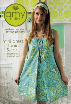 Mini Dress, Tunic and Tops ~ Amy Butler Sewing Pattern - I love this pattern, but it needs some kind of sleeve! Sleeveless make me grumpy.