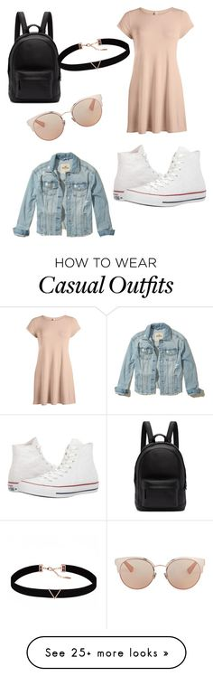 """casual back to school"" by scarlettpanda7898 on Polyvore featuring Hollister Co., Converse, PB 0110, Astrid & Miyu and Christian Dior"