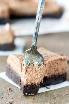 Chocolate Mousse Brownie Recipe - you'll never guess the secret ingredient that makes the mousse so light and fluffy!