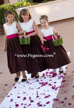 Raspberry and chocolate brown flower girl dresses l Style 398 from Pegeen Classic Collectio