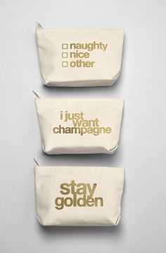 Love the metallic messages that add a playful touch to these pouches that are perfect for carrying the essentials.