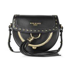Balmain Domaine 18 Glove Black Leather Crossbody Bag