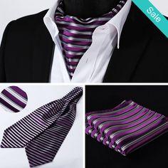 Ascot - Purple Gray Stripe Silk Ascot Tie and Handkerchief Set - On Sale for $56.99 (was $72.99) @runit365 #ascot #elegant #trendy