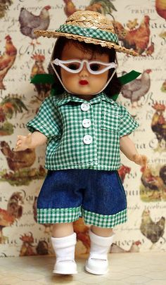 "Muffie's ~Goin' on a Hayride!~ 4 PC hand tailored outfit for Muffie. Fits Ginny, Ginger, and Wendy 8"" dolls too. Jean shorts, matching shirt, hat with hatband, and glasses. At my ebay now. Click pix to take you there. Last Green set and buy it now is available...with FREE SHIPPING!"