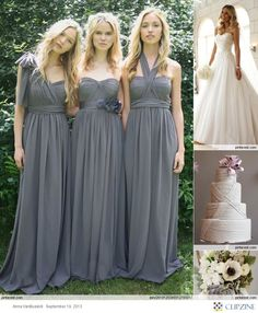 I like that the brides made dress don't match yet they are coordinated. this would be nice in another color.