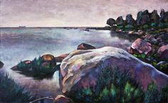Huge boulder. Acrylic on Canvas.  Painting based on etude work of the author on the shore of the Gulf of Finland in 2016.
