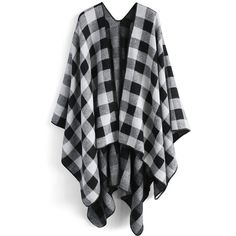 Chicwish Classic Black Check Blanket Cape (11.265 HUF) ❤ liked on Polyvore featuring outerwear, poncho, black, poncho cape coat, cape coats, tartan cape, plaid cape coat and plaid cape