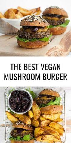 The best VEGAN MUSHROOM BURGER! Easy homemade mushroom patties (that don't fall … The best VEGAN MUSHROOM BURGER! Easy homemade mushroom patties (that don't fall apart) served with caramelized red onions, mango chutney and fresh arugula in pretzel buns. Vegan Recipes Easy, Whole Food Recipes, Vegetarian Recipes, Vegan Burger Recipe Easy, Homemade Vegan Burgers, Homemade Aioli, Yummy Recipes, Cake Recipes, Dessert Recipes