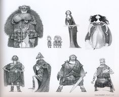 Pixar Drawing The Art of Brave, artwork by Carter Goodrich copyright Beautiful sketches! Character Design Animation, Character Design References, Character Drawing, Character Concept, Character Sheet, 3d Character, Brave Characters, Drawing Cartoon Characters, Cartoon Sketches