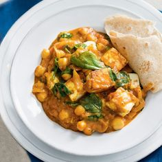 Paneer, spinach & chickpea curry | Meat Free Week by Liz Macri. If using dry chickpeas, 120g is equivalent to a can (400g)