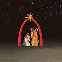 Deluxe nativity scene christmas ideas pinterest scene trim a home outdoor lighted chenille christmas nativity scene 3 pc aloadofball Image collections