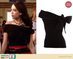 Mona's black off-shoulder top on Pretty Little Liars.  Outfit Details: http://wornontv.net/34176/ #PLL