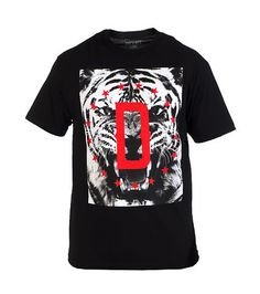 DFYNT Open mouth tiger print Star detail DFYNT D logo on front Crew neck Ribbed collar Cotton for comfort
