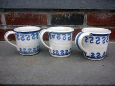 Pottery Mug Discounted White with Blue Design by FromCJsWheel, $8.00