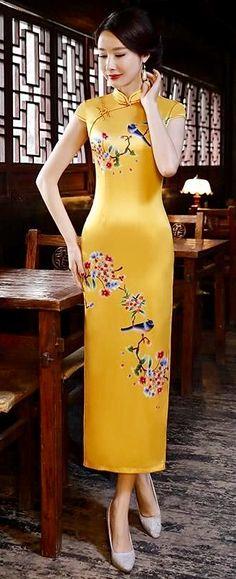 Oriental Dress, Cheongsam Dress, Blouse Dress, Ao Dai, Looks Style, Rock, Yellow Dress, Traditional Dresses, Asian Fashion