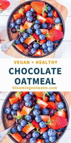 Chocolate Peanut Butter Oatmeal that you can make for dessert or breakfast. This vegan oatmeal recipe is gluten-free, oil-free and deliciously healthy. Perfect for all oatmeal lovers! Breakfast Smoothie Recipes, Quick Healthy Breakfast, Eat Breakfast, Breakfast Ideas, Vegan Oatmeal, Chocolate Oatmeal, Vegan Chocolate, Oatmeal Toppings, Oatmeal Recipes