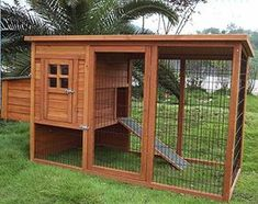 How to Make Your Own Chicken Coop... i dont have chickens.. .i have dogs sooo just put the house on the ground and you have a dog house with a cage...