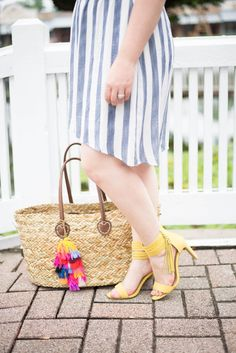 What This Mama Wore: This Summer's Trends with Blue Hummingbird Boutique | Beauty and the Binky blog | summer style, off the shoulder trend, off-the-shoulder, tassel earrings, tassel tote, straw beach bag, @Target, tassel shoes, summer dress, fashion blogger, fashion blog, style blogger, style blog: