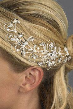 Rhinestone Tiara Comb - Bridal - Floral Fantasy (Crystal and Pearls) - Rhinestone Jewelry