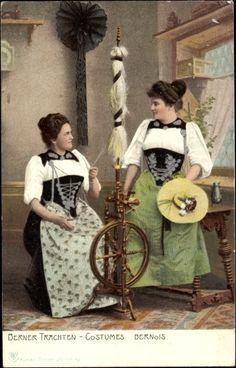 Postcard Berner Trachten, Costumes Bernois, Frauen in Trachten, Spinnrad