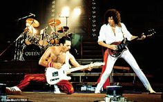 "Queen: Freddie Mercury, Brian May performing ""Crazy Little Thing Called Love"". Queen Freddie Mercury, Queen Band, Brian May, John Deacon, Beatles, Freddie Mercuri, Mr Fahrenheit, Sacha Baron Cohen, Queen Ii"