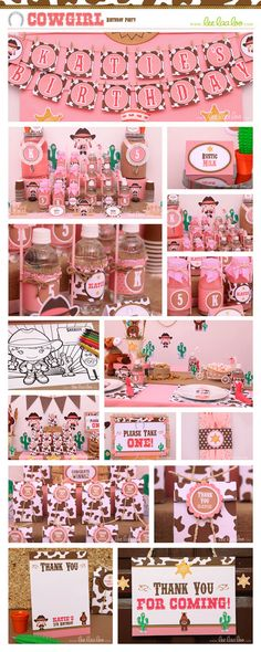 Cowgirl Birthday Party Package Collection Set Mega by LeeLaaLoo, $35.00