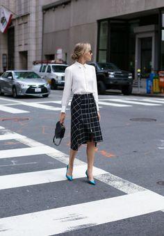 windowpane-midi-skirt-rag-bone-frame-covered-buttons-blouse-teal-satin-pumps-3