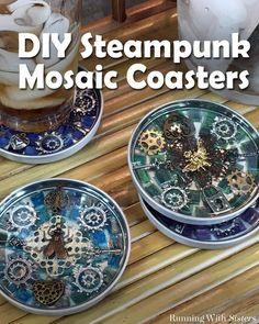 Steampunk Mosaic Coasters
